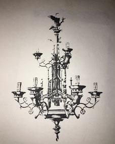 Fig. 9.- Lámpara flamenca, estilo gótico. Siglo XV. (Museo des Arts Decoratifs. París)