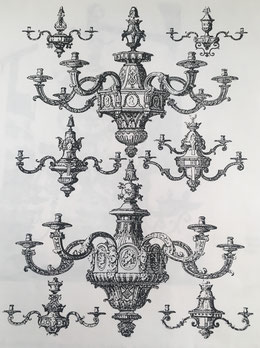 Fig. 7. - Bocetos de lámparas Luis XIV, por D. Marot.
