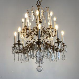 Lámpara de bronce y cristal de dos cuerpos
