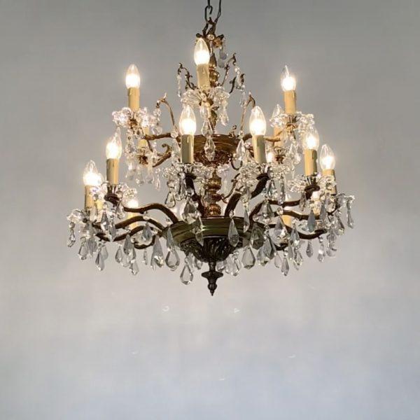 lampara antigua de bronce y cristal