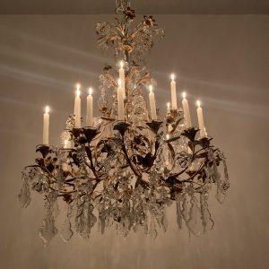 Lámpara de bronce y cristal